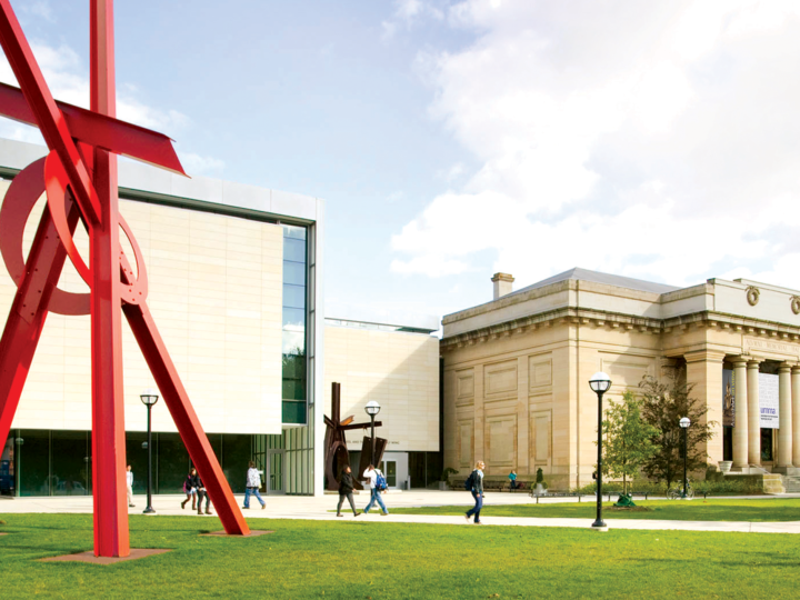 "University of Michigan Museum of Art, ""Orion"" sculpture by Mark Di Suvero in the foreground, Photo by Leisa Thompson"