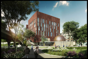 Architect's rendering of the new U-M Biological Science Building, view from Washtenaw Ave. (c) 2015 University of Michigan. Design Team: SmithGroupJJR/Ennead Architects.