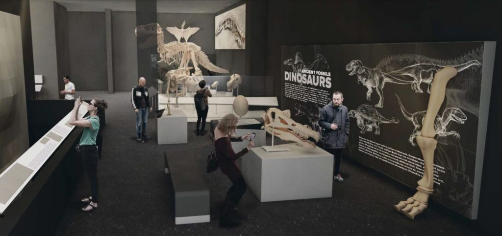 Preliminary schematic design of 'Exploring Evolution' gallery with new cast skeleton of Majungasaurus; Rendering courtesy Great Plains Exhibit Development / University of Michigan.