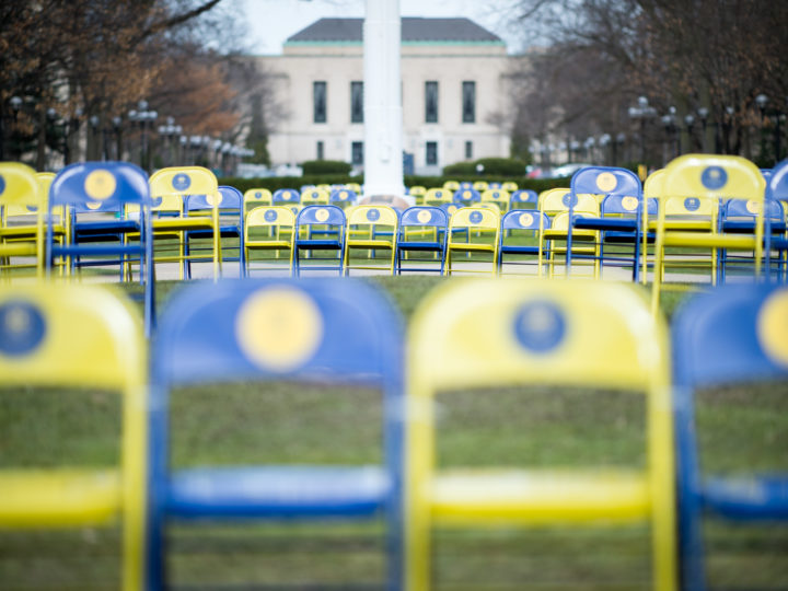 The Remembering Students Missing After Proposal 2 exhibit on the Diag. Courtesy of Michigan Photography.