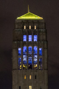 U-M's Burton Tower will be lit for special Bicentennial events during the remainder of 2017. Photo by Scott Soderberg, Michigan Photography.