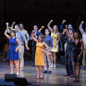 """The Victors"" performed by Department of Musical Theatre Majors on stage during True Blue, A Tribute to Michigan, part of the UMICH200 Spring Festival at Hill Auditorium. Photo by Roger Hart, Michigan Photography"