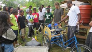Students from the Brightmoor Maker-Space created Water Cycler trikes in response to Detroit's water problem.