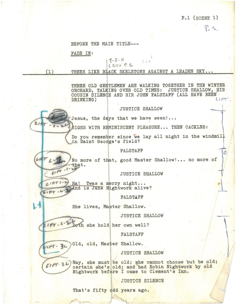 "Page 1 of Welles' annotated copy of the ""Chimes at Midnight"" script. This version, used during the editing process shows his hand in various deletions and cuts. Image courtesy the University of Michigan Library, Special Collections."