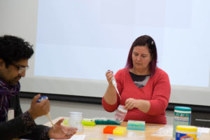 Visiting artist Marie de Menezes lead a workshop on Contemporary Art and Life Sciences.