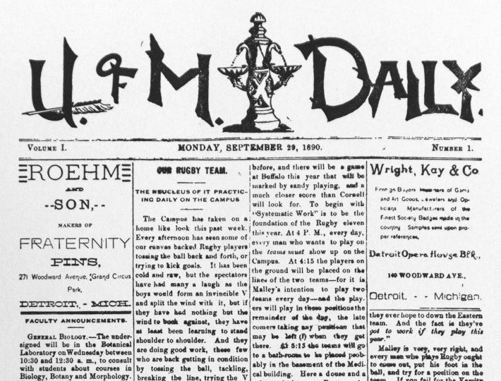 The first front page of The Michigan Daily, published in September 1890.