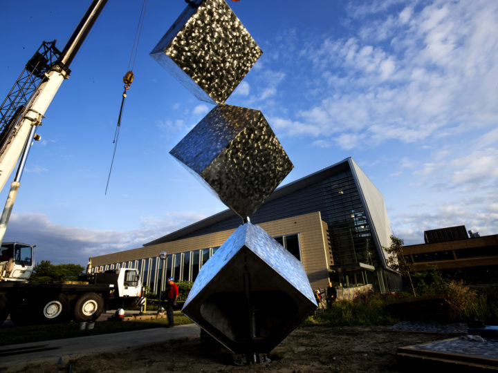 3 Cubes in a Seven Axis Relationship, a new art installation, being installed in front of the G.G. Brown Building on North Campus of the University of Michigan in Ann Arbor, MI on August 24, 2017. Photo by Joseph Xu.