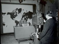 U-M faculty worked with WWJ-TV to deliver telecourses to Detroit-area viewers in the early 1950s. Photo courtesy of Bentley Historical Library.
