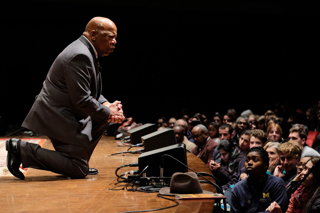 Congressman John Lewis speaking to students at Hill Auditorium. Photo by Mark Gjukich.