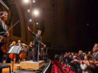 A standing ovation for conductor Alan Gilbert and the Orchestra after a performance at Hill Auditorium. Photo courtesy of Chris Lee.