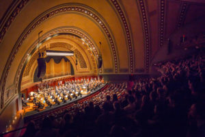 The New York Philharmonic performing in Hill Auditorium. Photo courtesy of Chris Lee.