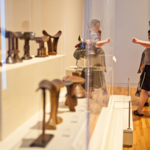 Visitors observe the artwork on display in the Bohlen Gallery of African Art. Photo courtesy of Levi Stroud.