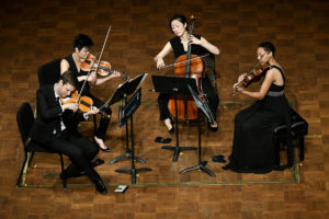 Argus Quartet, senior strings division winners, competed forthe 2017 $100K grand M-Prize, heldat the University of Michigan's Hill Auditorium on Thursday, May 4. Ensemble members: Clara Kim & Jason Issokson (violins), Dana Kelley (viola), and Joann Whang (cello). Photo by Lon Horwedel, Michigan Photography.