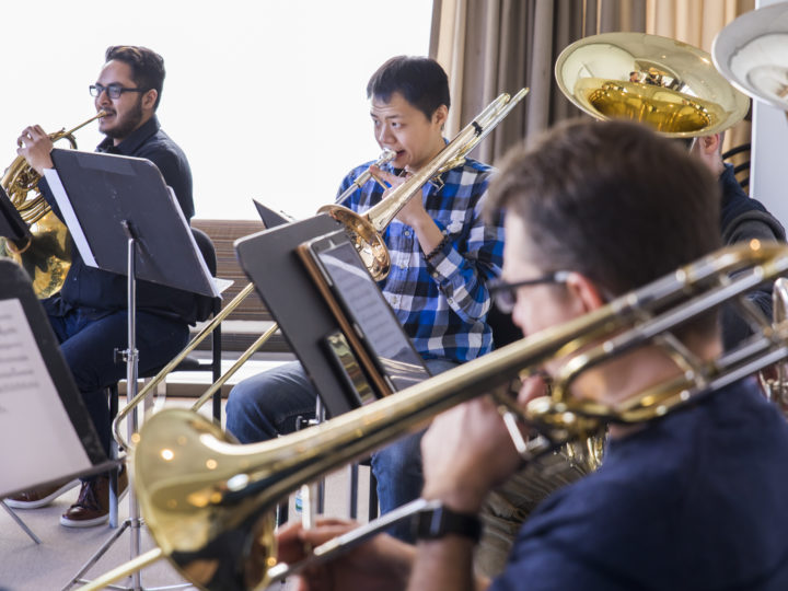 University Music Society of University of Michigan students rehearse with brass members of New York Philharmonic. Photo by Chris Lee.