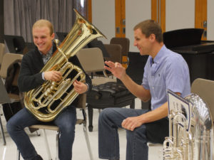 U-M student Evan Zegiel rehearses with New York Philharmonic principal tuba Alan Baer. Photo by Peter Smith.