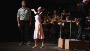 Musical Theatre majors Jamie Colburn and Jessica Gomes-Ng joined the New York Philharmonic on Hill Auditorium's stage for the Nov. 18 Young People's Concert. They sang a selection from West Side Story as Maria and Tony.