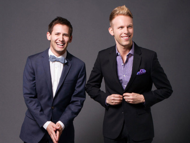"Benj Pasek and Justin Paul (BFA '06, musical theatre) are on their way to becoming ""EGOTs"": winners of Emmy, GRAMMY, Oscar, and Tony Awards. Photo by Dirty Sugar Photography."