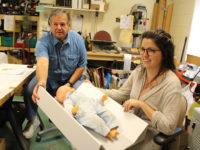 Samuels and Brink have developed a set of low-cost products to potentially enhance infant safety during sleep time. (Photo by Steve Culver, The University Record)