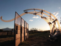 """In 2017, the first """"Border Crosser"""" robot was built and tested at the Amorphic Ranch in Bisbee, Arizona. © MacMurtrie/ARW , Photo by Bobby N. Adams."""