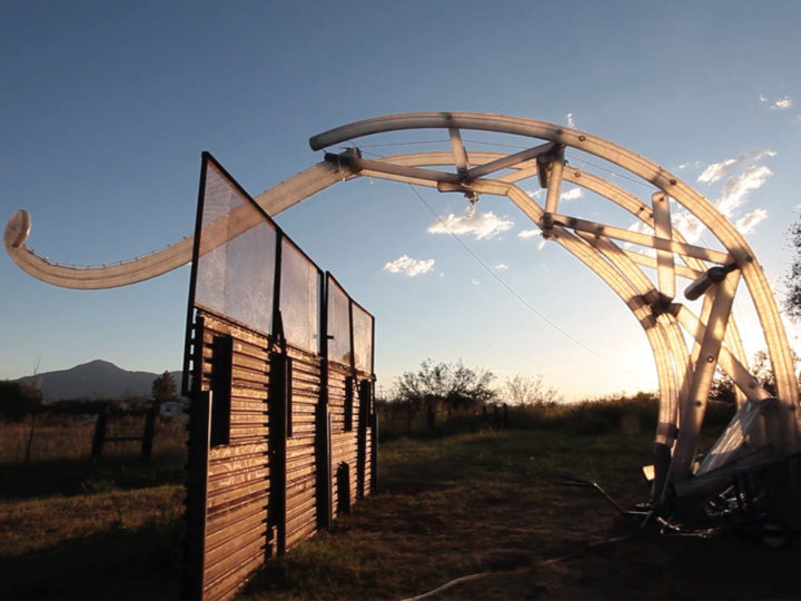 "In 2017, the first ""Border Crosser"" robot was built and tested at the Amorphic Ranch in Bisbee, Arizona. © MacMurtrie/ARW , Photo by Bobby N. Adams."