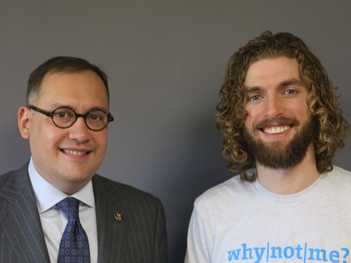 Andrew Martin, dean of the U-M College of Literature, Science, and the Arts (left) with Jeff Sorensen, director of Social Innovation and co-founder of optiMize. Photo by StoryCorps.