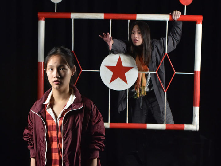 "Levana Wang (left) as Junhee and Amanda Kuo as Minhee, in ""You for Me for You"" by playwright Mia Chung. Photo by Peter Smith Photography."