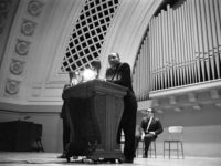 Martin Luther King Jr. spoke at the University of Michigan's Hill Auditorium on November 5, 1962. Photo courtesy the U-M Bentley Historical Library.