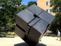"""Endover"" (The Cube) by U-M alumnus and sculptor Tony Rosenthal was installed on campus in 1968. It will be closed to the public during the Michigan Union's two-year renovation."