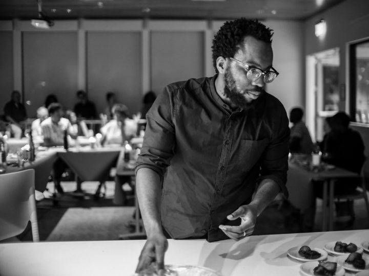 "Photo of Tunde Wey during his pop-up dinner series ""Blackness in America."" Photos by Moyo Oyelola; Courtesy Tunde Wey."