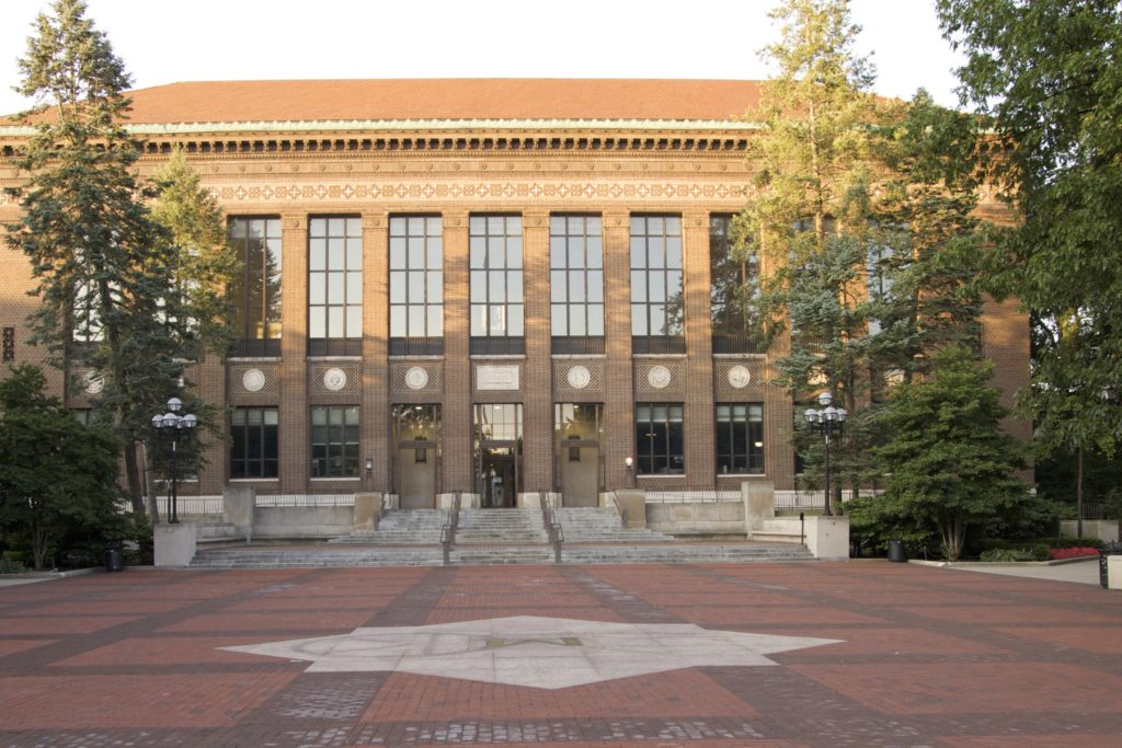 The Hatcher Library sits on the diag right in front of the block M.
