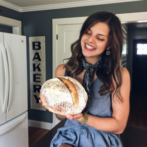 Maddie Ross with her homemade sourdough bread.