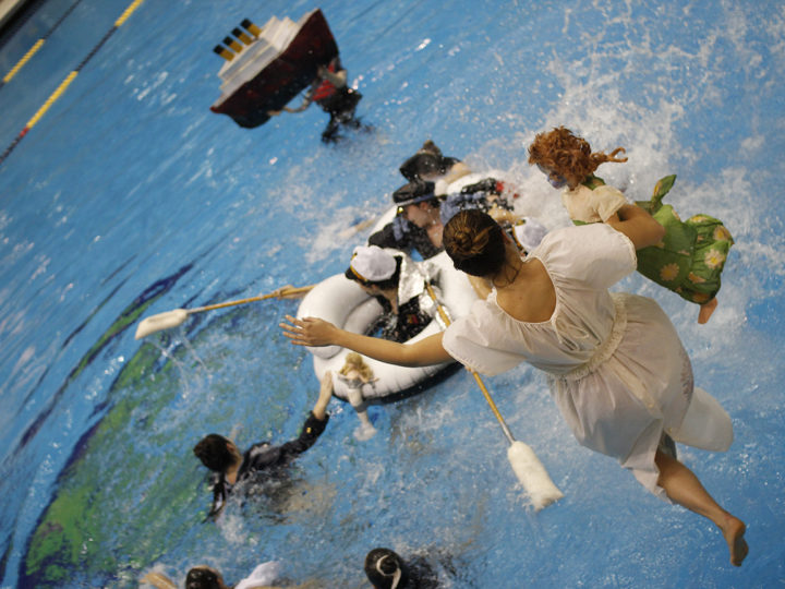 Students recreate a scene from the film Titanic, directed by Witt Visiting Artist Claudia Bitran. Photo by Stamps professor Rebekah Modrak.