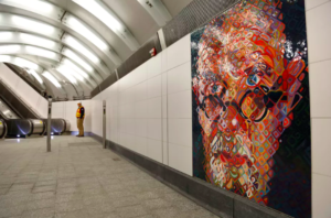 Mosaics by artist Chuck Close on the walls of the new 86th Street subway station on the Second Avenue line in New York.