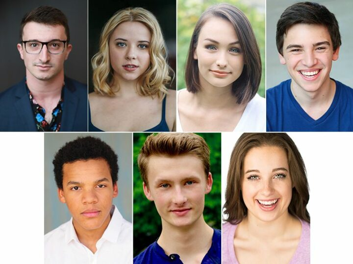Runyonland Productions: (top row) Thomas Laub, Emma Ashford, Erica Ito, Wilson Plonk; (bottom row) Mason Reeves, Travis Anderson, Nevada Koenig.