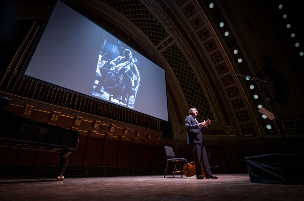Yo-Yo Ma addressed nearly 3,000 people at Hill Auditorium during a presentation that was part of a two-day visit to the University Musical Society. Photo by Eric Bronson, Michigan Photography.