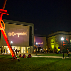 "Mark di Suvero's sculptures ""Orion"" (foreground), and ""Shang"" (background) have welcomed visitors to the U-M Museum of Art since 2009. After a year of restoration work, ""Orion"" returns to campus April 2019."