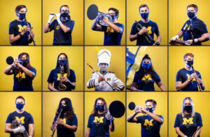 The Michigan Marching Band performed in its first ever virtual season. Photos by Eric Bronson/Michigan Photography; image by Natsume Ono.