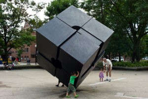 """The Cube """"Endover"""" by Tony Rosenthal."""