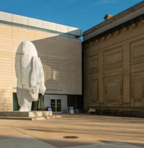 """""""Behind the Walls"""" by Jaume Plensa is one of the newest public art works installed on U-M's Ann Arbor campus."""