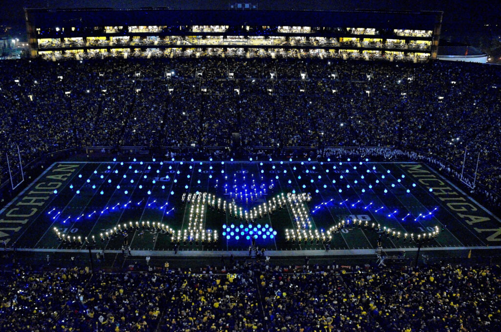 Michigan Marching Band formation during
