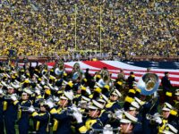 Michigan Marching Band players at a past game on the field during a Sept. 11 tributes show.