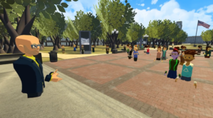 A virtual recreation of U-M's iconic Diag, presented in the Center for Academic Innovation's first annual XR summit. Virtual avatars can be seen conversing on the digital diag.