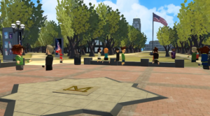 A virtual recreation of U-M's iconic Diag, presented in the Center for Academic Innovation's first annual XR summit. The Diag can be seen near center of the image, as well as virtual avatars, tress, the Burton Memorial Tower, and the flagpole.