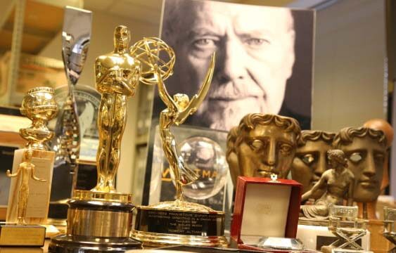 Robert Altman's collection of over 130 awards can be found at the U-M Library's special collections space. Photo by Alison Hacker.