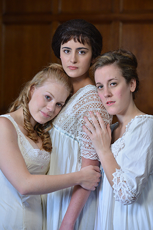 "Kate Berg, Jacqueline Toboni and Alex Madda in U-M's production of ""Three Sisters."" (Photo by Peter Smith Photography)"